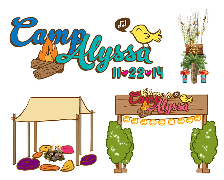 Concept art and Bat Mitzvah logo design for Camp Alyssa by 84 West Events.