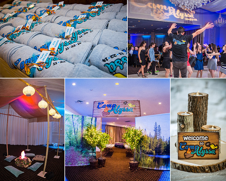 Applied design of custom Bat Mitzvah logo by 84 West Events.